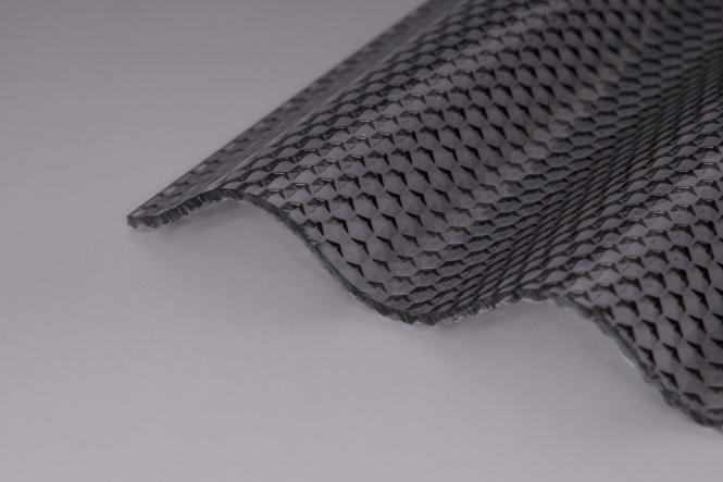 Acryl Sinuswelle 76/18 Wabenstruktur graphit